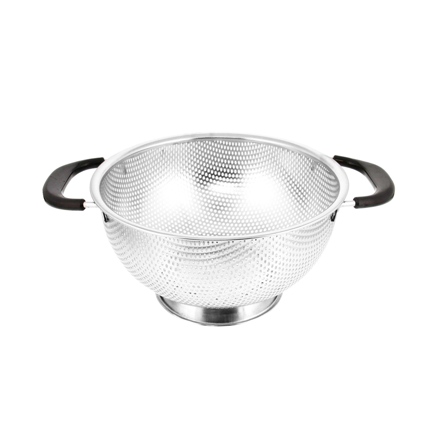 "Click here to buy U.S. Kitchen Supply 3-Quart 9"" Stainless Steel Perforated Colander Strainer Basket with Coated Heat Resistant Wide Handl by TCP Global Corp."