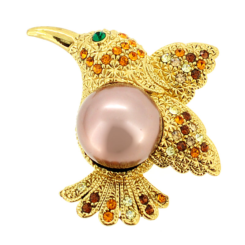 Golden Topaz Hummingbird Swarovski Crystal Pin Brooch by
