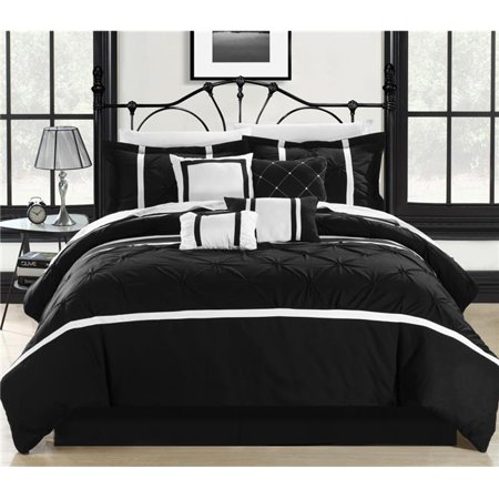 Chic Home 127-160-Q-12-US Vermont Black & White Queen 12 Piece Bed in a Bag Comforter Set with 4 Piece Sheet Set