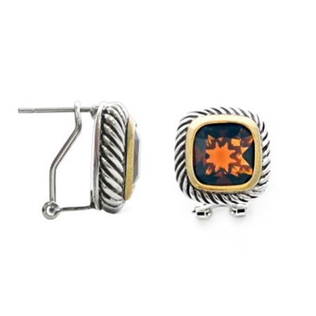 C Jewelry Amber Square Cable Earring, Champagne - image 1 de 1