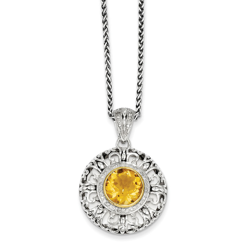 Sterling Silver w 14k Citrine & Diamond Necklace by Kevin Jewelers