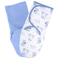 Little Star Organic 100% Pure Organic Velcro Swaddle, 2 Pack, Blue-Wild at Heart, Small