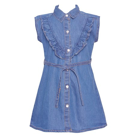 (Little Girls Blue Ruffle Trim Belted Shirt Style Vintage Denim Dress)