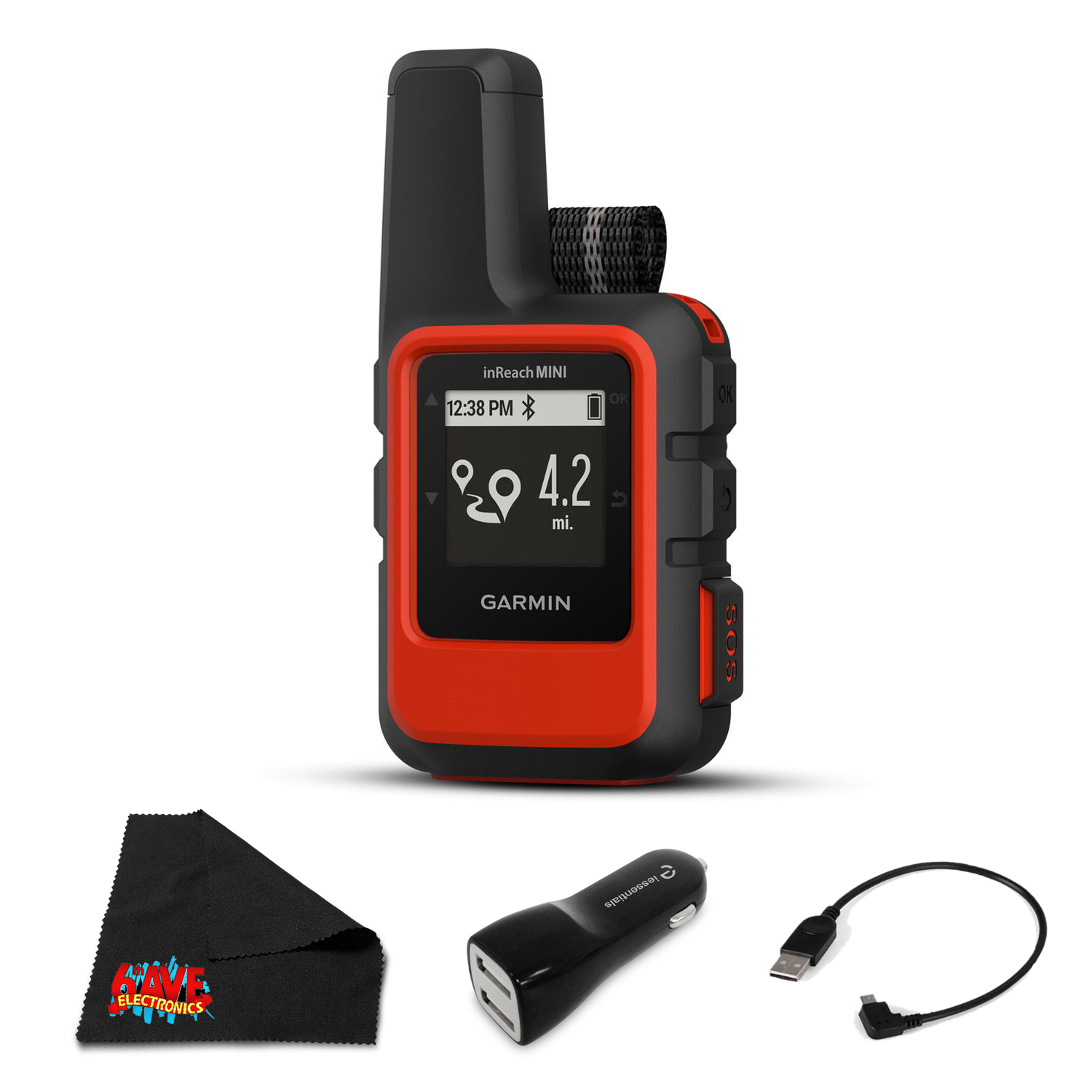 Garmin inReach Mini Satellite Communicator (Orange) Hiking GPS (Satellite Subscription Required) - Bundle with 1 Year Extended Warranty + Pentax 10x30 PCF CW Binoculars