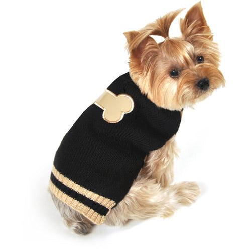 SimplyDog Bone Dog Sweater, Black