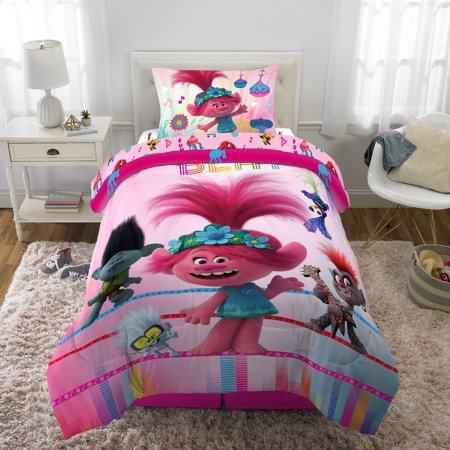 Trolls World Tour Bed in a Bag Bundle Set, Kids Bedding, Super Soft Comforter with Sheets, 4 Piece TWIN Size