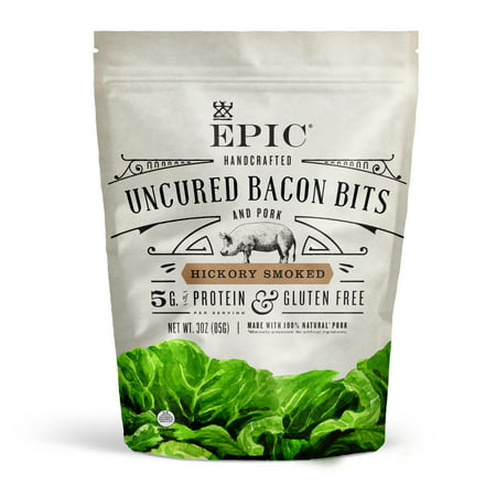 EPIC Hickory Smoked Uncured Bacon Bits, 3 oz Bag (10 Count)
