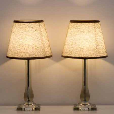HAITRAL Bedside Table Lamps Set of 2 – Modern Desk Lamps with Acrylic Base, White Linen Shade, Nightstand Lamps for Bedroom, Living Room, Dorm, Office (Silver) ()
