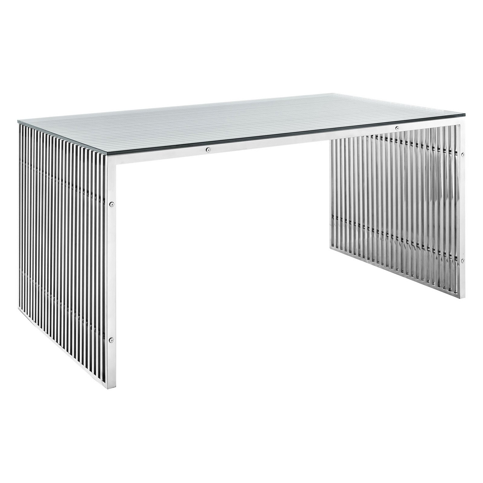 Modway Gridiron Stainless Steel Dining Table, Multiple Colors