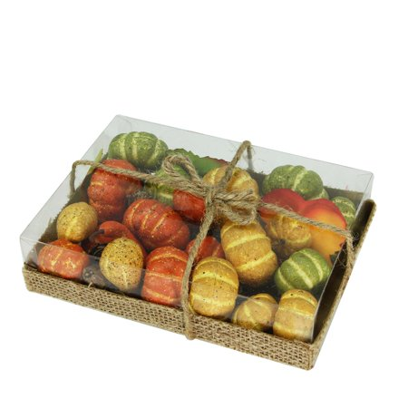 Set of 35 Autumn Gourds, Fall Leaves and Pine Cone Vase Filler Decorations