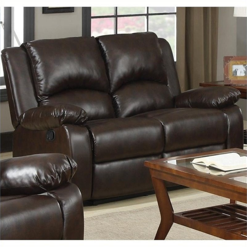 Bowery Hill Double Reclining Faux Leather Loveseat in Brown