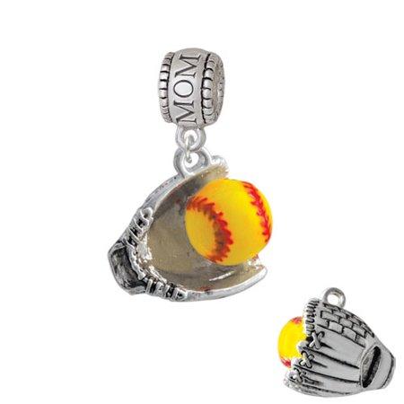 Extra Large Softball and Glove - Mom Charm Bead (Softball Charms)