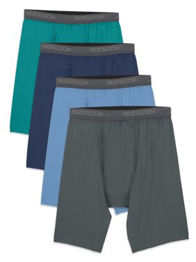 Fruit of the Loom Men's Micro-Stretch Assorted Long Leg Boxer Briefs, 4 Pack, Size 2XL