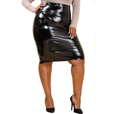 3e62b64cb Genx - Womens Plus Size Shiny Latex Midi Fashion PU Skirt GNS4213  -2XL-Black - Walmart.com
