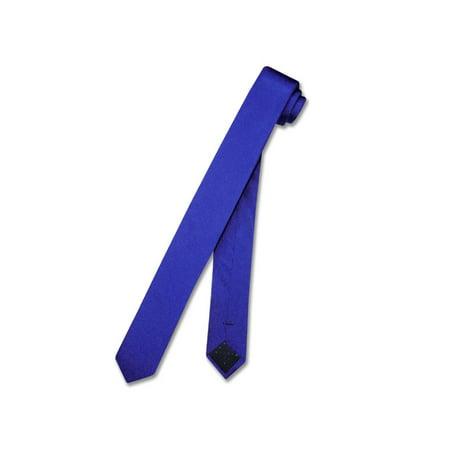 (100% SILK Narrow NeckTie EXTRA Skinny ROYAL BLUE Color Men's Thin 1.5