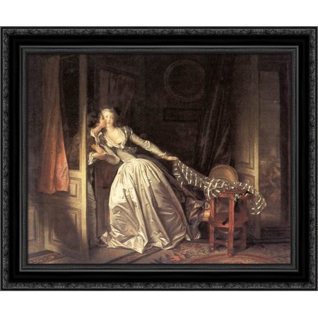 The Stolen Kiss 23x20 Black Ornate Wood Framed Canvas Art by Fragonard, Jean (The Stolen Kiss By Jean Honore Fragonard)