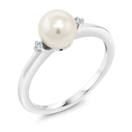 White Pearl 10k Ladies Ring (10K White Gold 7mm Cultured Freshwater Pearl Engagement Ring With Diamond Accent )