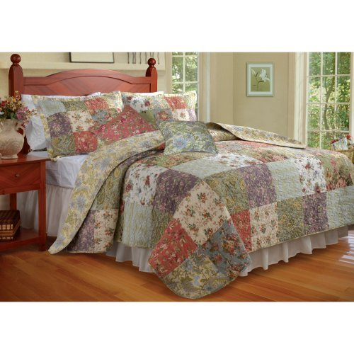 Greenland Home Fashions Blooming Prairie - Quilt Set with Bonus 16 in. Pillow