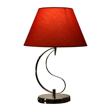 - Christina 1-light Red Fabric 20-inch Chrome Table Lamp