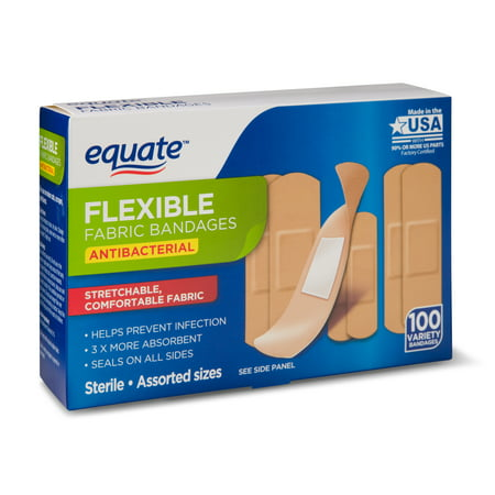 Equate Flexible Antibacterial Fabric Bandages, 100 Ct (Halloween Band Aids)