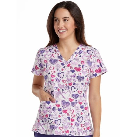 Med Couture 'Vicky' V-Neck Print Top Scrub Top