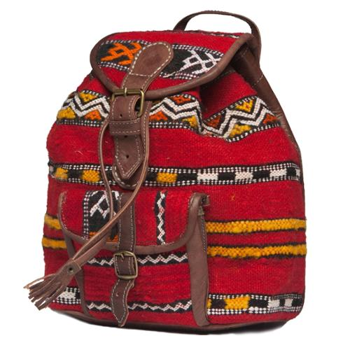 Moroccan Buzz Leather and Kilim Backpack (Morocco)