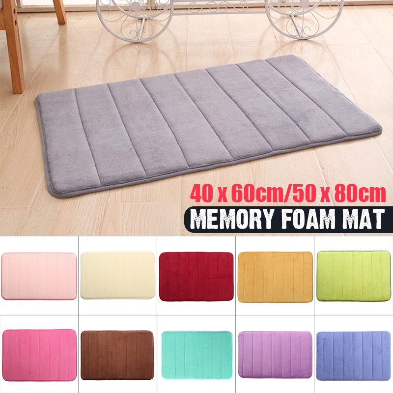 "16""x24""/20""x31"" Soft Memory Foam Door Mat Shower Bath Bathroom Bedroom Floor Rug Non-slip Entry Welcome Doormat Multi Colors"