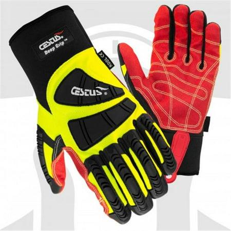 Cestus 3056 M Pro Series Deep Grip Kool Impact One Pair Glove, Green - Medium