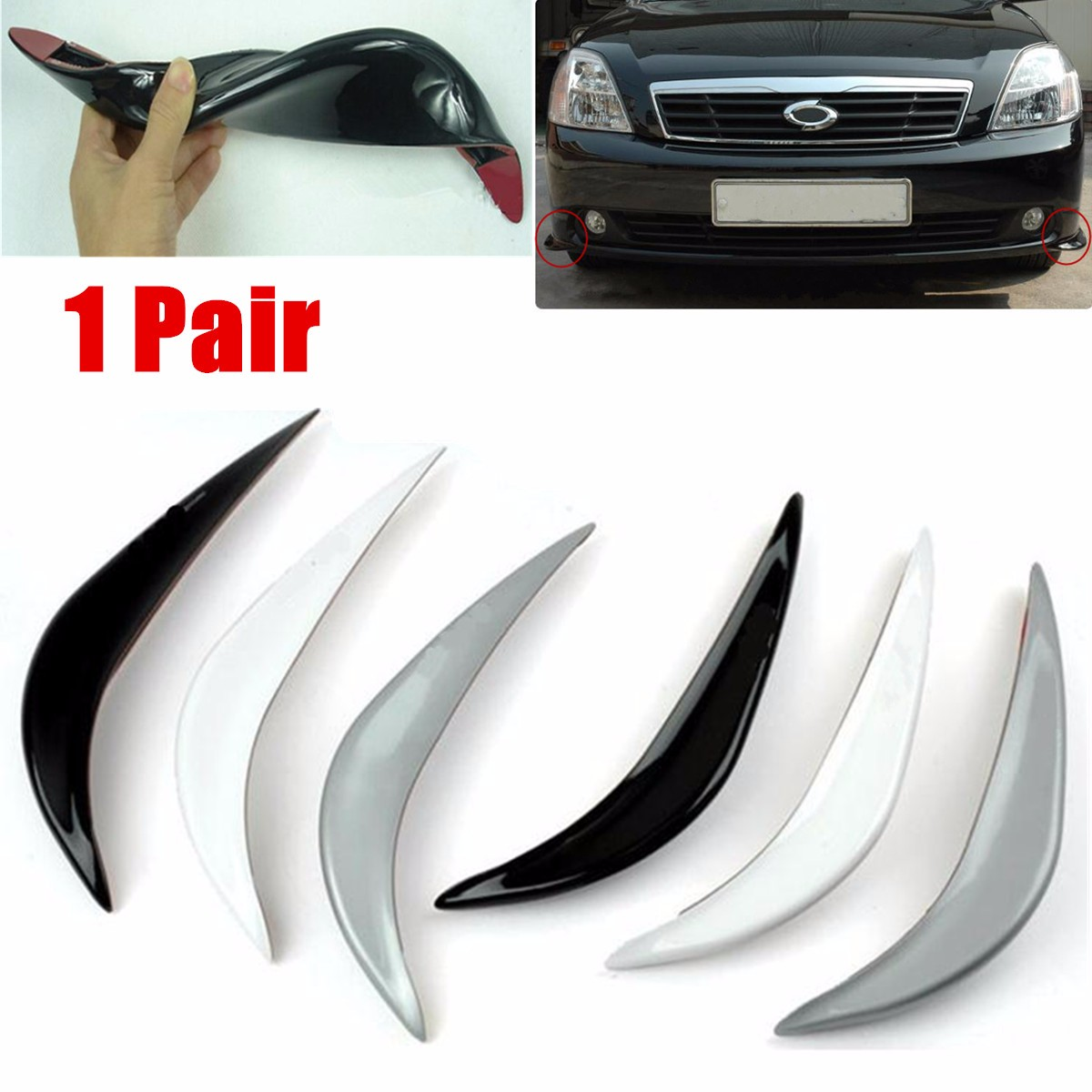 M.way 1 Pair Universal Car Anti-Collision Patch Rear Bumper Corner Guard Protector Rubber Front Lower Lip Guard Strip