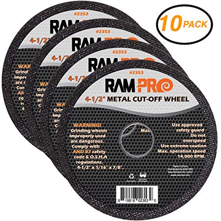 Ram-Pro 4-1/2 Inch Metal Cut-Off Wheel Blades | Abrasive Arbor Grinder Disc Set Ideal for Cutting, Grooving, Sanding and Trimming Ferrous Metal & Steel (10 Pack). ()