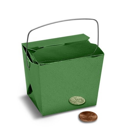 Green Metallic Medium 4 x 3-1/2 x 4 inches Colored Paper Chinese Take Out Food Favor Boxes, 24 pack - Chinese Takeout Boxes