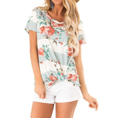 711ONLINESTORE Women Short Sleeve Floral Print Twist Knot Front Top