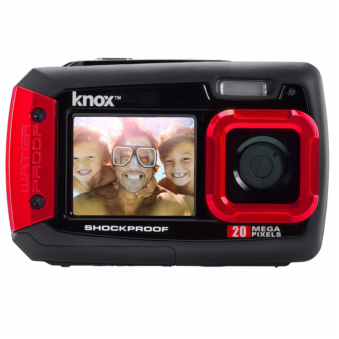 Knox Dual-Screen 20MP Rugged Underwater Digital Camera with Video (Red)