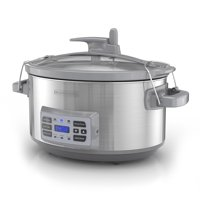 BLACK+DECKER 7-Quart Digital Slow Cooker with Temperature Probe + Precision Sous-Vide, Stainless Steel, SCD7007SSD