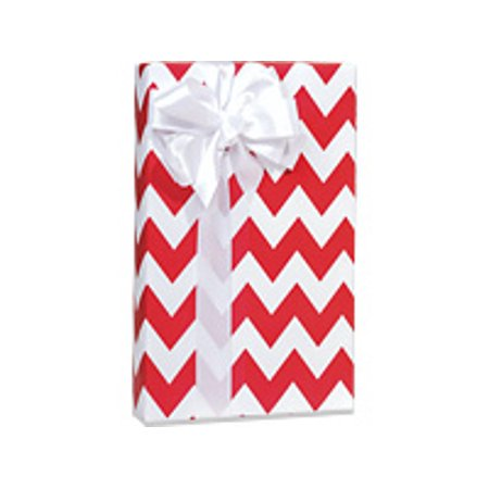 Red and White Chevron Stripe Birthday / Special Occasion Gift Wrap Wrapping Paper-16ft