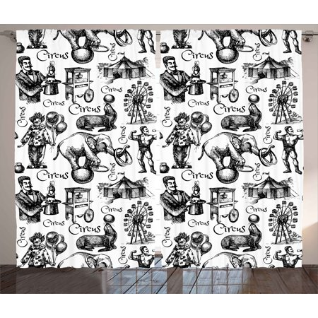 Modern Curtains 2 Panels Set, Circus Quote and Themed Continous Pattern with Magician Baloons Phrase Artwork, Window Drapes for Living Room Bedroom, 108W X 96L Inches, Black and White, by Ambesonne - Circus Themed Favors