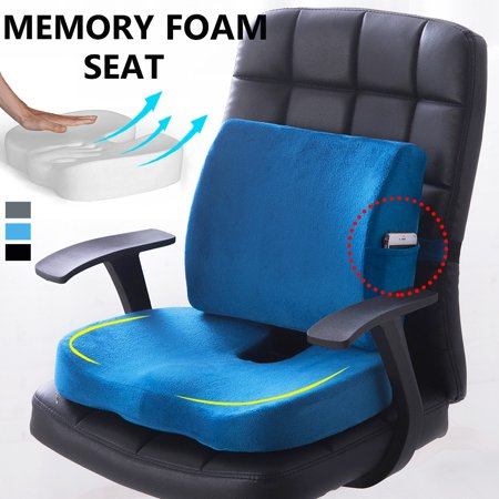 Premium Memory Foam Seat Cushion Lumbar Back Support Orthoped Home Car Office Chair Seat Pad Mat Pain/Stress Relief ()