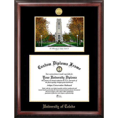 """University of Toledo 8"""" x 10"""" Gold Embossed Diploma Frame with Campus Images Lithograph"""