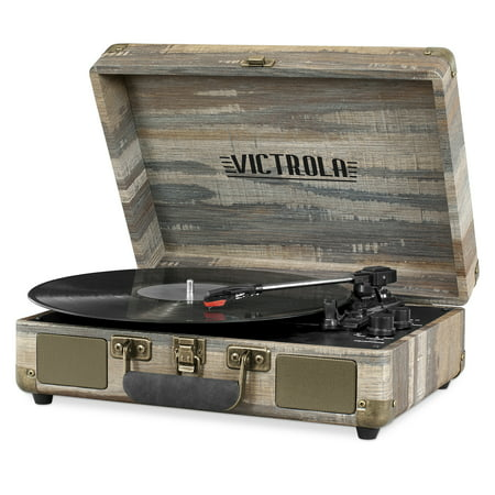 Victrola Bluetooth Suitcase Record Player with 3-speed Turntable, Farmhouse Shiplap Grey ()