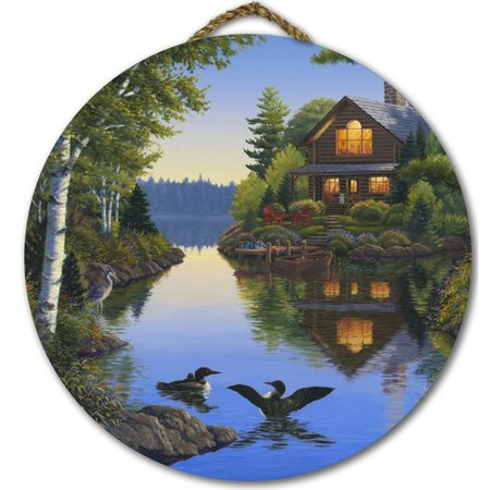 WGI Gallery 'Lake Cabin' Painting Print on Wood