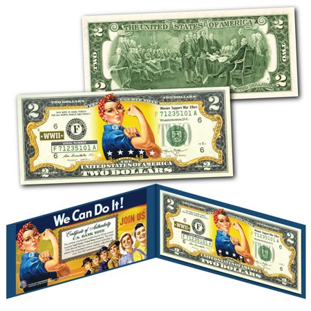 ROSIE THE RIVETER WWII Cultural Icon Women's Economic Power Genuine U.S. $2 (Prince Rosie Gaines Nothing Compares 2 U)