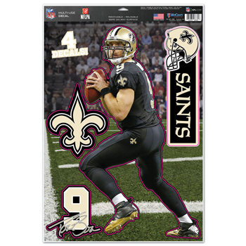 """New Orleans Saints Drew Brees 11""""x17"""" Multi-use Decal Sheet"""