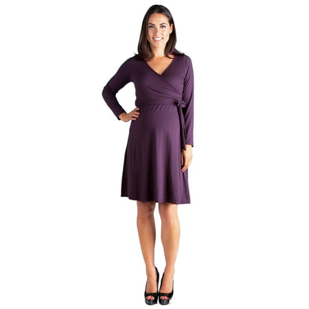 24seven Comfort Apparel Chic V-Neck Long Sleeve Belted Maternity Dress Sleeve Belted Maternity Dress