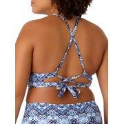 1bcb987506d No Boundaries - Juniors  Plus-Size Printed High-Neck Halter Swimsuit ...