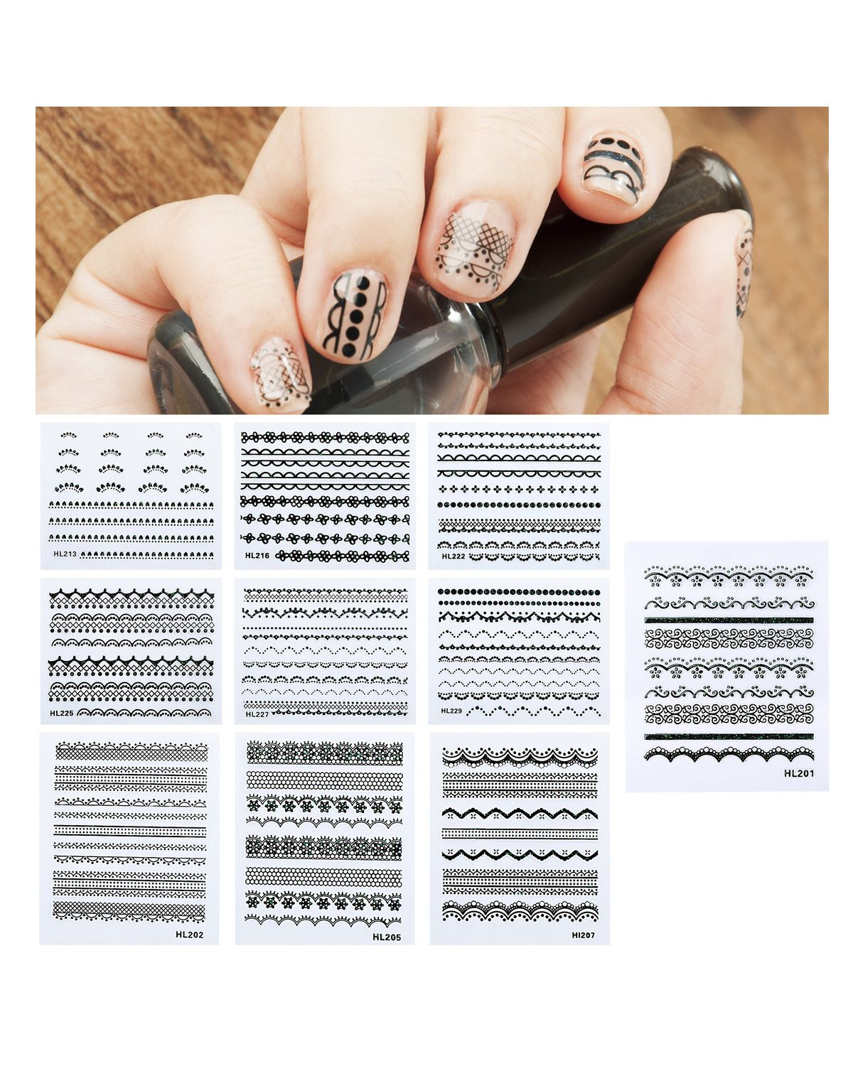 Zodaca Lacy Designed Nail Art Stickers Decorations Nail Stickers 10 ...