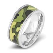 Stainless Steel Polished Green Camouflage Ring (9mm)