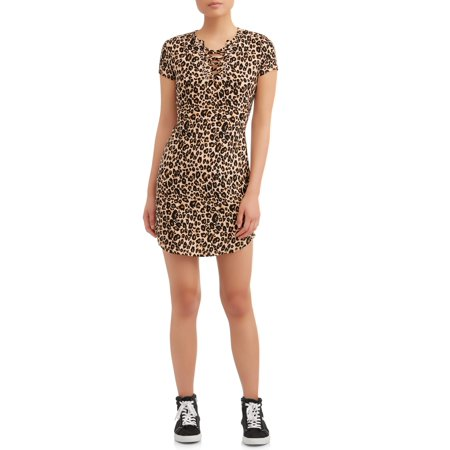 No Boundaries Juniors' Notch Neck Lace Up Print