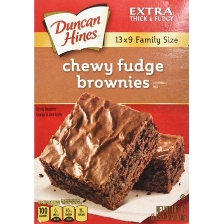 12 PACKS : Duncan Hines Chewy Fudge Brownies 18.3oz Family Size - 2 Boxes