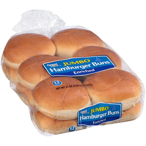 Great Value 12 Jumbo Hamburger Buns, 21 oz