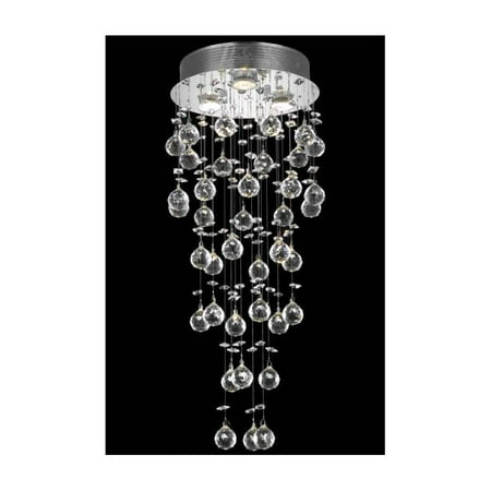 30 in. 3-Light Flush Mount Clear Royal Cut Crystal in Chrome (Royal Cut)